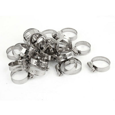 25 Pcs Cut Out 10mm Wide Adjustable Stainless Steel Worm Gear Hose Clamp 18-32mm