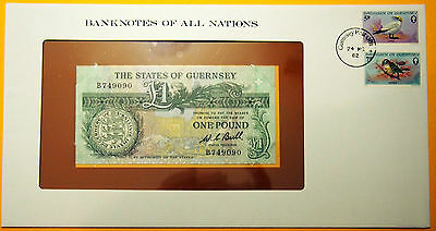 Guernsey - 1 Pound 1980 - 1989 Uncirculated Banknote in see through envelope.