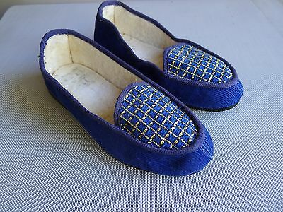 vintage retro 60s toddler 11 girls slipper shoes NOS blue