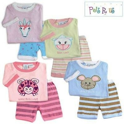 New, Girls, Boys, Kids Animal Summer Short Pyjamas, Sleepwear, PJS, Sizes 1T-4T