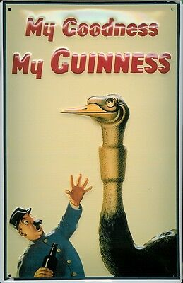 GUINNESS OSTRICH Vintage Metal Pub Sign | 3D Embossed Steel | Home Bar | Irish