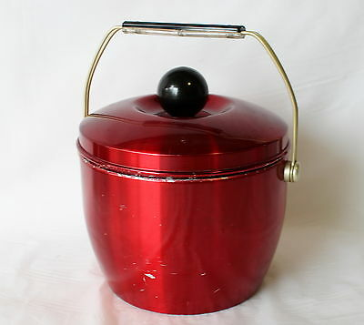 Vintage RED ANODISED ALUMINIUM ICE BUCKET Retro Bar Large Novo Industries