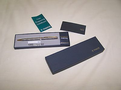 Vintage PARKER Insignia Ball Point Pen Brushed Stainless 1994 - New in Box