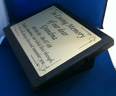 Personalised Black Granite Memorial Plaque Stone with Any Wording Required Inc