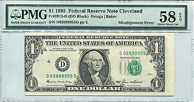 $1 Misalignment Error 1985 PMG 58 EPQ Federal Reserve Note Bill