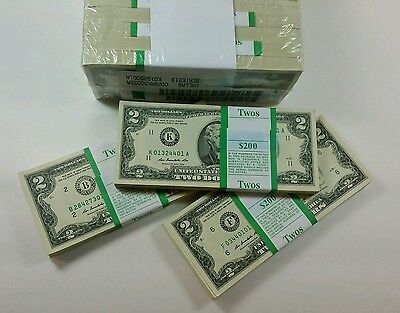 50 UNCIRCULATED  $2 NOTES 2003A-2013 Two Dollar BILLS RANDOM DISTRICTS