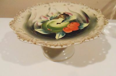 FRUIT PEDESTAL DISH PEAR THEME 1960's VINTAGE HAND PAINTED