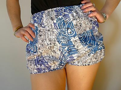Vintage retro 12 M bloomers shorts blue cotton as new NOS high waisted