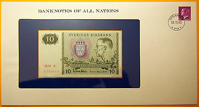 Sweden - 10 Kronor 1979 Uncirculated Banknote housed in see through envelope.