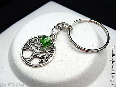Silver Tree Of Life Jewelled Crystal Keyring Key Ring 13 Colours You Pick Yours