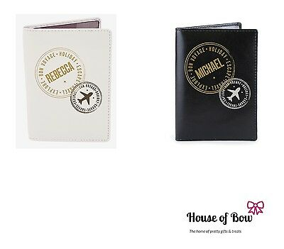 Cream Black Personalised Stamp Passport Holder Leather Cover NEW Gift