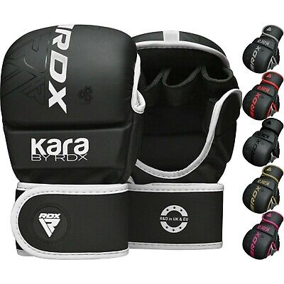 RDX Leather MMA Grappling Gloves UFC Fight Boxing Muay Thai Punch Bag Sparring