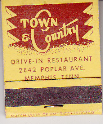 1950s Full Matchbook - Town & Country - Poplar Avenue - MEMPHIS TENNESSEE TN