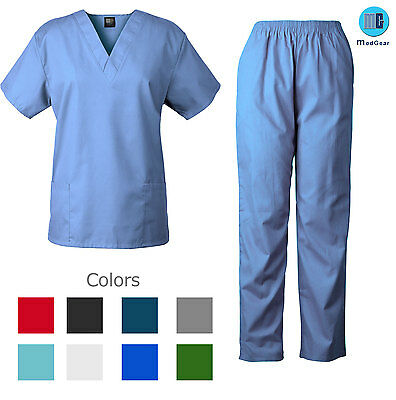 Medgear Unisex Nursing Scrubs Set Top and  Pants Nurse Uniform 7877