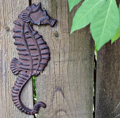 Rustic Cast Iron Seahorse Fish Art Sculpture Sea Creature Wall Plaque Weathered