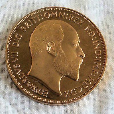 EDWARD VII 1910 BRONZE PROOF PATTERN CROWN - george and dragon