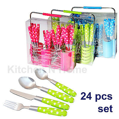 24pc CUTLERY SET with Holder, Stainless steel