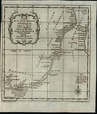 South East Africa Mozambique Canal Hottentots  c.1749 antique engraved map