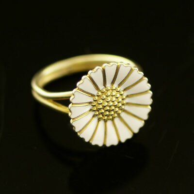 Vintage Danish Gilded Silver Daisy Ring w/ White Enamel 18 mm. - B. Hertz