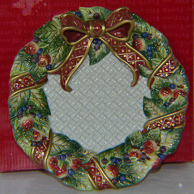 Vintage Fitz Floyd Swan Wreath Plate Serving Canape Holiday MIB