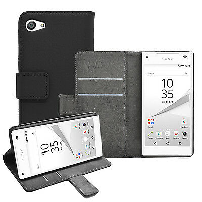 WALLET Leather Flip Case Cover Pouch For Sony Xperia Z5 Compact (+2 PROTECTORS)