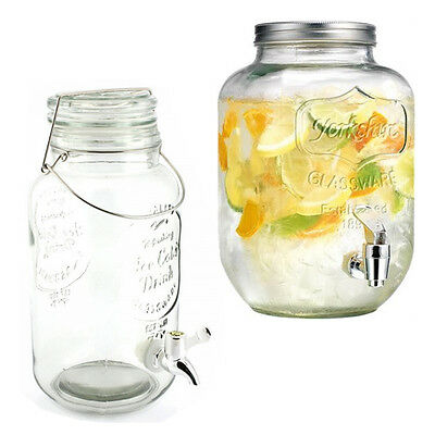 Dispenser Drink Water Cocktail Tap Handled Juice Punch Party Glass Mugs Jar Home