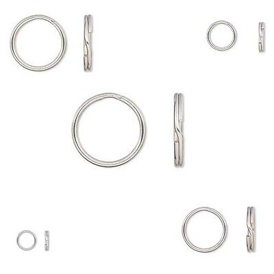 20 Round Stainless Surgical Steel Split Ring Keyring Jewelry Findings Small -Big
