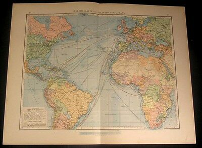 Atlantic Ocean Trade Routes 1899 large detailed old German color map