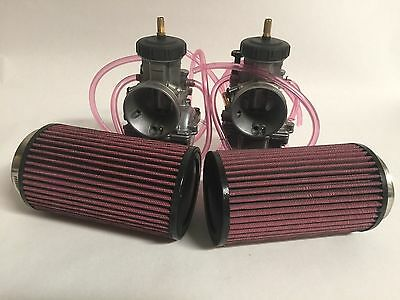 Banshee Keihin 34mm 34 PJ Carbs Carb Carburetor Set K&N Style Air Filters Pair