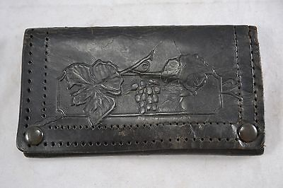 VINTAGE Edwardian tooled black leather purse grape and vine design Art Nouveau