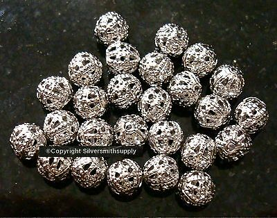 White gold plated 6mm round filigree spacer accent jewelry beads 24 pcs fpb188