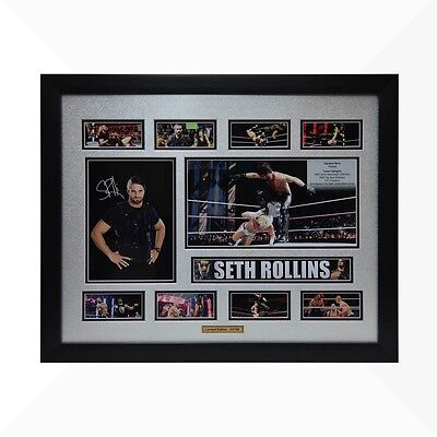 Seth Rollins WWE Signed & Framed Memorabilia - Silver/Black Limited Edition