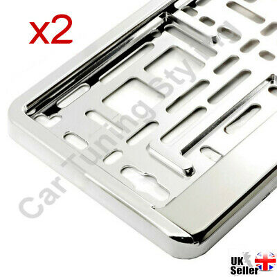 2 X Chrome Car Number Plate Holders Surrounds Frames For Any Car