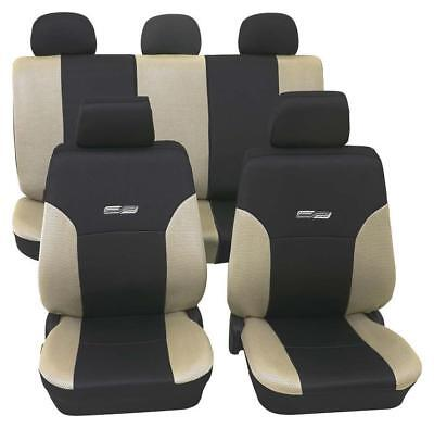 Beige & Black Leather Look Car Seat Covers - Ford Focus 2011 Onwards-Washable