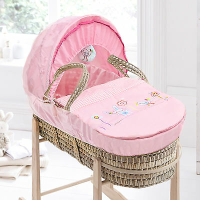 New Clair De Lune Pink Bunny & Chick Palm Baby Moses Basket With Mattress
