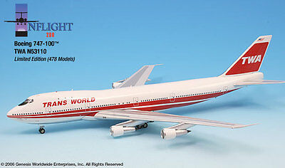 Inflight200 TWA Trans World Airlines 80s Bold Titles 747-100 1:200 Scale N53110