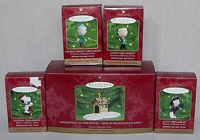 "HALLMARK ""A SNOOPY CHRISTMAS"" COMPLETE SET OF 5 NEW"