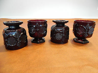 CoinHunters-AVON 1876 Cape Cod Ruby Red Footed Glass - Set of 4 - Mint condition
