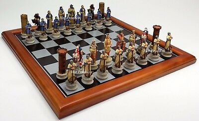 Medieval Times Crusade ARABIAN vs CHRISTIAN CHESS SET W/ BLACK & SILVER BOARD