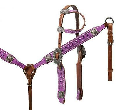 Showman PURPLE paisley print headstall and breast collar set! New Horse Tack!