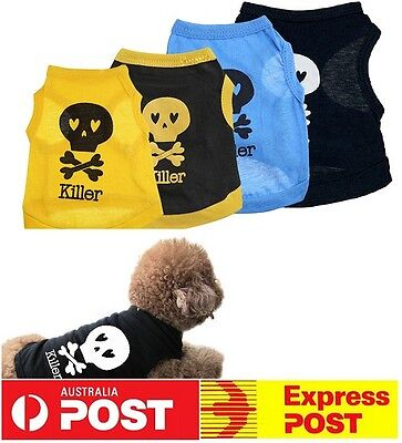 NEW Puppy Dog Small Dog Cat Pet Clothes Skull Vest T-Shirt Clothes Summer Cool