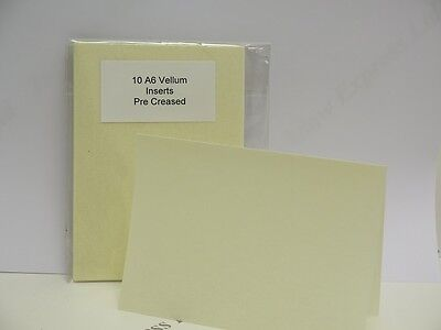 10 x A6 Vellum Inserts (105 x 143mm) Single Fold Cream 170gsm Cardmaking AM493