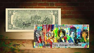 27 CLUB WORLD Rency / Banksy Warhol Pop Art on $2 Bill Signed #/215 JANIS JOPLIN