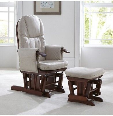 Tutti Bambini Walnut Gc35 Deluxe Reclining Glider Nursing Feeding Chair & Stool