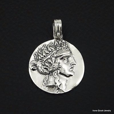 Dionysos Coin Pendant 925 Sterling Silver Greek Handmade Art Rare