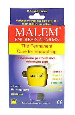 Malem MO3 8-Tone Bedwetting Alarm with Light (Yellow)