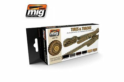 AMMO OF MIG A.MIG-7105 Acrylic Paint Set (6 jars) Tires and Tracks