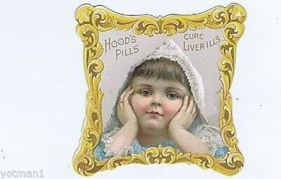 Hood's Pills Cure Liver Ills, Little Girl, Victorian Trade Card, Patent Medicine