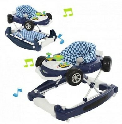 New 4Baby Blue White Musical Coupe Car Height Adjustable Baby Walker Rocker