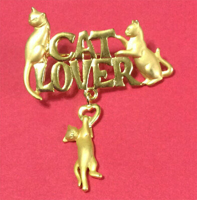 Cat Lover With Dangling Cat Brooch Pin Jonette Original!
